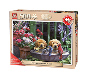 PuzzPlus 500pcs Puppies On Stairs